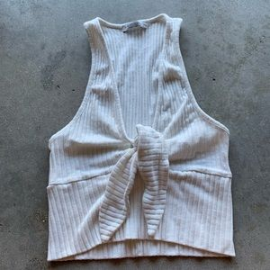 Zara White cream crop top knit with front knot